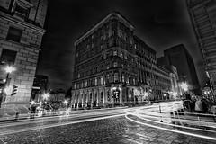 Fantomatique (iron_fer) Tags: longexposure urban city blackandwhite blancoynegro citylights cars people montreal travel canada