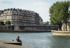 Looking over the Seine River (eutouring) Tags: paris france riverseine river seine people view