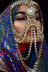 The Muted Organ (DesertWindsPhotography) Tags: jewelry makeup art blue gold red india arab arabic uae qatar saudiarabia black colorful morocco fabric hijab green women portrait