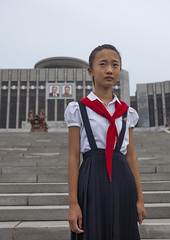 Pioneer Girl In Mangyongdae Schoolchildren's Palace, Pyongyang, North Korea (Eric Lafforgue) Tags: color colour vertical architecture asian clothing women uniform asia stair womanonly korea asie rearview coree pioneer oneperson clearsky northkorea onepeople pyongyang dprk coreadelnorte redscarf capitalcities onewomanonly northkorean nordkorea buildingexterior fulllenght 1people democraticpeoplesrepublicofkorea  onlywomen   coreadelnord  img9616 builtstructure 1415years  insidenorthkorea  rpdc  coreiadonorte