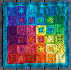 CMYK cushion front (rettgrayson) Tags: chart colour square rainbow spectrum crochet merino pillow pixel colourful granny cushion cmyk biggan