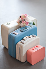 Suitcases - Wedding Styled Shoot (lemonfreshdesignsphotography) Tags: blue wedding vintage 60s getaway getty suitcases lightpink weddingbouquet cleanedit weddingsuitcases styledshootpreviewsonly