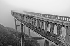 Bixby Creek Bridge (e.b. image) Tags: california bridge blackandwhite bw fog monterey bridges landmarks bigsur highway1 archetecture northerncaliforniacoast montereypeninsula cabrillohighway sonyalphaa580