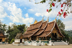 Wat Xieng Thong (or Temple of the Golden City) in Luang Prabang, Laos (Maria_Globetrotter) Tags: world city travel pink heritage tourism canon site asia day republic village humanity cloudy january bougainvillea unesco peoples backpacking framing southeast laos picturesque lao democratic cultural luang whs prabang mondial patrimoine bouganvilla humanidad patrimonio welterbe 2011  louangphrabang 550d 1585 vrldsarv werelderfgoedlijst verdensarven  sathalanalat paxathipatai paxaxon  mariaglobetrotter