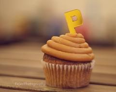 P (Fajer Alajmi) Tags: wood caramel cupcake letter