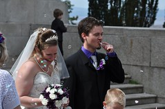 Confetti on the tongue! (bryanpage) Tags: flowers wedding tiara tongue groom bride funny veil dress steps bubbles confetti bouquet weddingdress bridegroom williamsonpark ashtonmemorial arronjakeperry