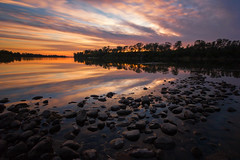 Sunset at Lake Natoma (boingyman.) Tags: trees sunset lake clouds landscape rocks folsom scape lakenatoma boingyman