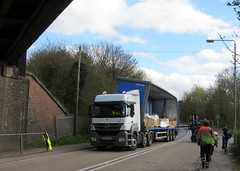 Low bridge, tall trailer (Lady Wulfrun) Tags: nottingham bridge blue broken truck mercedes accident railway lorry hits bent twisted artic articulated recovery nottinghamshire forklift unload trowell rta notts lowbridge buckled bridgestrike
