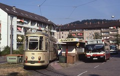 1991-09, Freiburg i.Br., Zhringen, Hornusstrasse (Fototak) Tags: germany mercedes tram freiburg autobus 116 strassenbahn gt4 806 ligne3 o405 ligne15