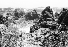 Dimmuborgir (Rolf Birger) Tags: winter bw snow lava iceland myvatn