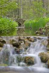 Spring Time Aulwood Stream (Robert O. Photography) Tags: bridge flowers flower color green nature water colors garden waterfall spring interesting nikon dayton daytonohio d3000 aulwood nikond3000 aulwoodmetropark