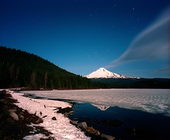 Smokey Mountain (spiritusmentis) Tags: longexposure snow oregon mediumformat kodak rangefinder f45 moonlight cropped 6x7 wilderness mounthood startrails frozenlake portra400 mamiya7 43mm wideopenaperture