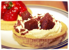 Strawberry and chocolate cream tarts - 8 (Tony Worrall Foto) Tags: uk england food english cakes fruit nice berry berries photos sweet cream tasty eaten images sugar eat foodporn pastry snacks taste sugary bake tarts bought baked creamy piled stawberries tonysphotos creamtarts 2013tonyworrall