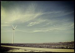 Wasteland (Lisa Karloo (Off, why bother?)) Tags: road sky windmill clouds seaside nikon view wind land emptiness d600 lisakarloo