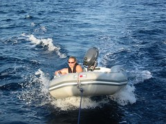 Daughter in the Dinghy (David J. Greer) Tags: ocean boy sea summer boys water sunshine children outside outdoors pull warm mediterranean sailing child outdoor croatia line sail tow dubrovnik adriatic dinghy