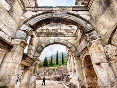 Through the Gate (=Tom=) Tags: tom turkey march ruins library wideangle olympus panasonic ultrawide ephesus celsus libraryofcelsus 2013 714mm