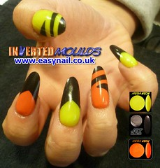 Ami Orange Black and Yellow (invertednailsystems) Tags: uk pink orange black art yellow glitter training silver gold amazing neon pretty im nail powder course nails salon technician extension inverted false ims extensions nailart courses moulds enuk invertednailsystems easynail easynailuk