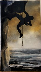 Hanging (Los Dave) Tags: cliff streetart man mountains art painting landscape stencil extreme free climbing card southsea mountaineer cliffface freeart freeartfriday singlelayerstencil