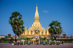 Wat Thatluang Front view (Santi Sukarnjanaprai) Tags: travel art architecture temple asia place buddhist sight laos wat vientiane thatluang