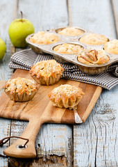 Apple muffins (Julicious) Tags: old morning food apple fruit canon vintage crust table dessert baking yummy sweet board rustic knife fresh homemade casual pan form muffin foodphoto foodphotography foodstyle canon5dmarkiii