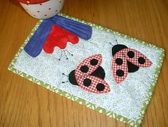 Ladybug Applique Mug Rug (The Patchsmith) Tags: pattern sewing gingham quilting ladybird ladybug patchwork applique mugrug patchsmith
