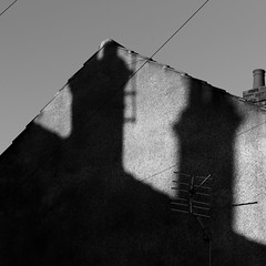 Liss Lighting (Andrew Malbon) Tags: terrace houses shadows chimney summer strongisland stronglight summilux leica m9 leicam9 portsmouth southsea hampshire square bw rangefinder 35mmf14