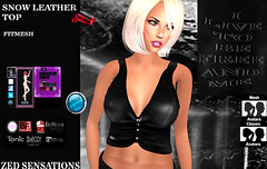 Snow fm leather top (Zed Sensations) Tags: fine curvy physique hourglass pulpy slim isis freya country evemesh metal grunge urban rock short vested colette vest shirt top leather fitmesh fitted mesh project camisa eve slink tmp belleza ebody tonic sl avatar secondlife