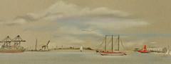 Sketching at Shotley (amanda.parker377) Tags: shotley lightship sketching pastelpencildrawing derwentpastelpencils ships docks containership england