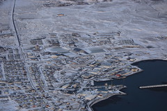 Aerial Winterscape Iceland (eriagn) Tags: iceland winter volcano landscape sea coast coastal topography geology city town port road snow icw rock grid cold freezing habitat settlement winnter january houses crater lava ash ngairehart ngairelawson travel photography destination myth saga geothermal church redroof frozen water aerial