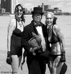 Dr. Takeshi Yamada and Seara (Coney Island Sea Rabbit) visited the Coney Island Polar Bear Club at the Coney Island Beach in Brooklyn, New York on April 3 (Sun), 2016. mermaid. merman.  20160403Sun DSCN4911=4040-3027C3BW. Mj Moscowitz. Laura Simon (searabbits23) Tags: searabbit seara takeshiyamada  taxidermy roguetaxidermy mart strange cryptozoology uma ufo esp curiosities oddities globalwarming climategate dragon mermaid unicorn art artist alchemy entertainer performer famous sexy playboy bikini fashion vogue goth gothic vampire steampunk barrackobama billclinton billgates sideshow freakshow star king pop god angel celebrity genius amc immortalized tv immortalizer japanese asian mardigras tophat google yahoo bing aol cnn coneyisland brooklyn newyork leonardodavinci damienhirst jeffkoons takashimurakami vangogh pablopicasso salvadordali waltdisney donaldtrump hillaryclinton polarbearclub