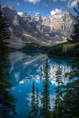 Great Canadian Rockies (Stuart MacNeil) Tags: canada rockies rockymountains reflection landscape vertical outdoors lake lakemoraine snow summer pine tree clearwater mountain mountains