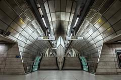 Southwark tube station (kl1809) Tags: metal architecture metabones canonlens jubileeline empty symmetry sonya7r2 sony tubestation londonunderground england london southwarkstation southwark