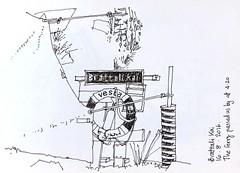 Bratteli Kai (jamesdyson) Tags: norway ryfylke lysefjorden bratteli brattelikai quay brattlia signpost lifebuoy shelter hivis emergencyshelter sketch fountainpen fjord