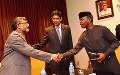 Vice President Prof. Yemi Osinbajo SAN in a handshake with Kaisar-Alam India Deputy High Commissioner, during a courtesy visit