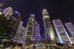 Downtown, Singapore (Rick Deacon) Tags: angle buildings district downtown financial illuminated looking night office singapore skyscrapers up wide sg