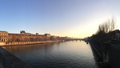 Seine, Pont du Carrousel (amanthei) Tags: paris france fr seine riverseine water river trees pontducarrousel bridge iphone5s iphone iphoneography throwback morning early color digital digitalphotography digitalimage mobilephone mobile walking city citywalking citylife empty sky panorama ledefrance