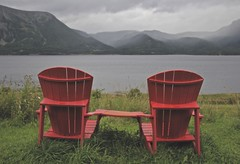 Sit a Spell (deepeast creations) Tags: outdoor chair sharethechair nature goulet grosmorne newfoundland ohyeah sunset canon