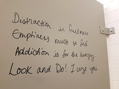 Distraction is fullness (quinn.anya) Tags: distraction emptiness addiction hungry look do graffiti bathroom fed ucberkeley