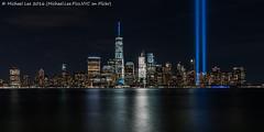 Tribute in Light - 9/11/16 (DSC09993) (Michael.Lee.Pics.NYC) Tags: newyork tributeinlight 2016 911 jerseycity exchangeplace hudsonriver lowermanhattan night longexposure onewtc worldtradecenter sony a7rm2 fe2470mmgm