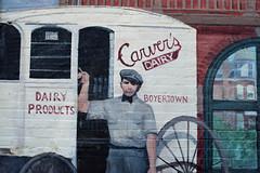 Carver's Dairy (MTSOfan) Tags: wallmural boyertown milk delivery milkman carvers memories pennsylvania uniform hat bowtie cart buggy