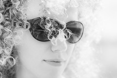 20161008_F0001: High key natural lighting with sunglasses and curly hair (wfxue) Tags: sunglasses curly hair curlyhair highkey bright natural light blackandwhite bw people portrait candid