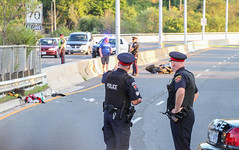 Fatal Motorcycle Crash (Shane Murphy - Photojournalist) Tags: hamont hamilton claremont access collision motorcycle fatality hps hfd police investigation crime scene