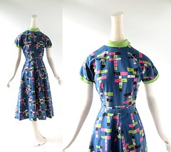 1950s Hopscotch novelty print cotton dress (Small Earth Vintage) Tags: smallearthvintage vintageclothing vintagefashion dress 1950s 50s hopscotch noveltyprint