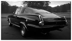 Barracuda (daveelmore) Tags: plymouthbarracuda plymouth barracuda car automobile vehicle musclecar hotrod stitchedpanorama panorama blackwhite bw lumixleicadgsummilux25mm114