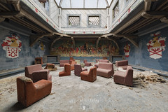 musical chairs (2016) (Peter Untermaierhofer) Tags: abandoned forgotten forbidden rotten secret hidden fine art arts fineart decay derelict deserted urbex urban exploration lost places resident evil nikon untermaierhofer urbanexploration lostplaces silent hill scary horror dark pictures alone old building architecture architecutral hdr hdri dri vergessen verlassen  forladte hyltty  elhagyatott trigthe yfirgefin  abandonn ditinggalkan abbandonato  naputen forlatt pamests apleistas abandonado opuszczony  abandonat   opusten opustili  oputn terkedilmi vergiven disco chairs dance castle red brilliant