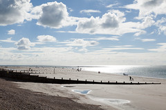 Reflections | West Wittering beach | October 2016-29 (Paul Dykes) Tags: westwittering beach coast coastal seaside uk england clouds puddles reflections people groynes sea solent