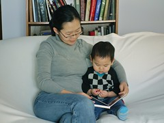 Reading a book with mommy (LugerLA) Tags: lumix reading voigtlander gf2 brownbearbrownbearwhatdoyousee colorskopar35mmf25
