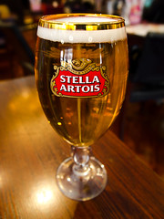 Stella Artois. (CWhatPhotos) Tags: stella artois glass yates durham city north east england reflection reflections photograph with picture pictures photo photos image images foto fotos that have which contain olympus epl1 1442mm cwhatphotos center centre yellow color colour light shadow drink lager beer pub public house artistic art flickr