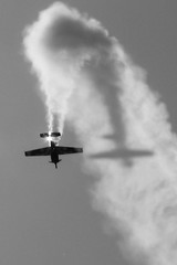 Turn over - Otoka (David Doua) Tags: light shadow sky bw cloud sun white black turn canon wings smoke air over steam airshow s5 explored