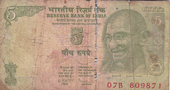 Indian Money (JohnnieShene) Tags: india money 5 indian rupees rupee